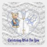 Boys Christening Bear Square Sticker