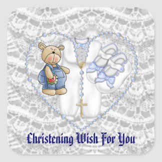 Boys Christening Bear Square Sticker