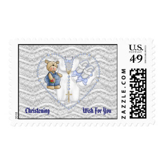 Boys Christening Bear Stamp
