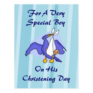 Boys Christening Bird Postcard