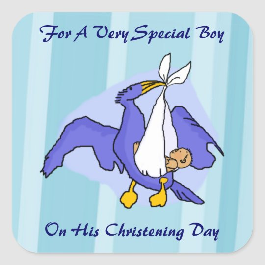 Boys Christening Bird Square Sticker