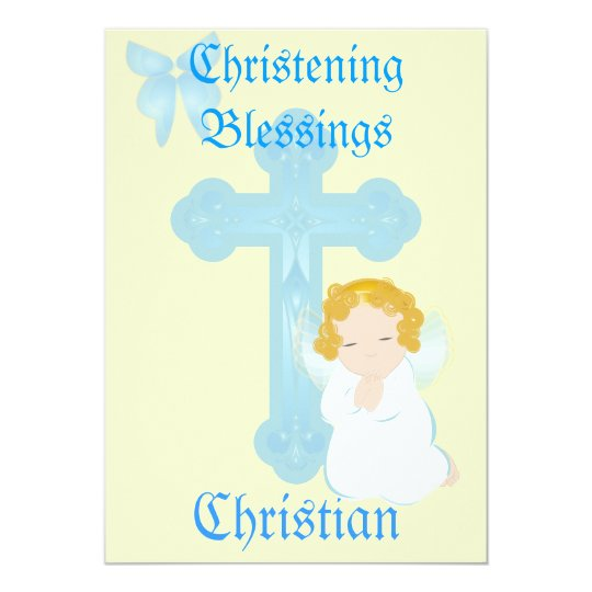 Boy's Christening Blessings-Customize Card