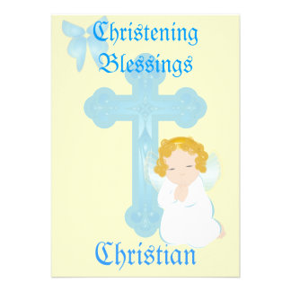 Boy's Christening Blessings-Customize Custom Invitations