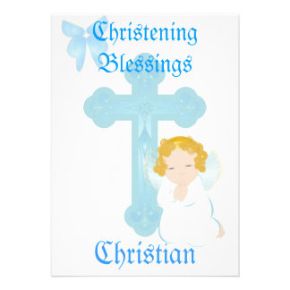 Boy's Christening Blessings-Customize Personalized Announcements