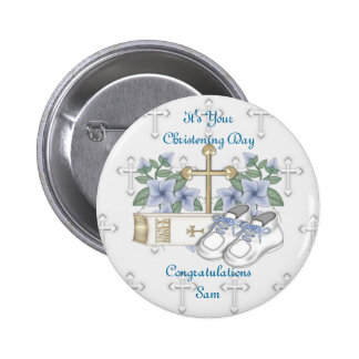 Boys Christening Shoes 2 Inch Round Button