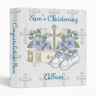 Boys Christening Shoes 3 Ring Binder