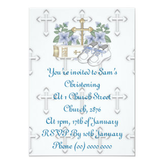 Boys Christening Shoes 5x7 Paper Invitation Card