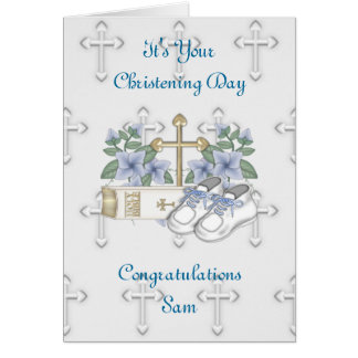 Boys Christening Shoes Greeting Card