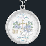"""Boys Christening Shoes Silver Plated Necklace<br><div class=""""desc"""">Boy Christening Shoes design and was designed Tuesday 26th April 2011. Sketchart26 created the design using artwork by http://delightful-doodles.com/. The design features a cross surrounded by blue flowers,  the holy bible and baby Shoes. The design is perfect for all your Christening needs.</div>"""
