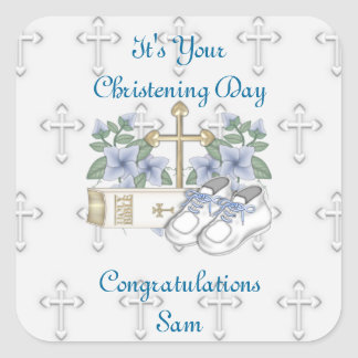 Boys Christening Shoes Square Stickers