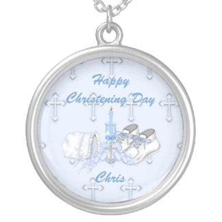 Boys Christening Wish Round Pendant Necklace