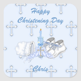 Boys Christening Wish Square Sticker