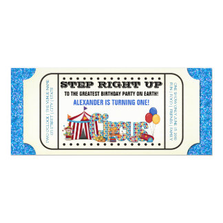 Boys Circus Ticket Birthday Party Card