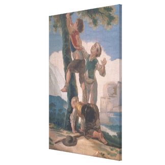 Boys Climbing a Tree Stretched Canvas Print