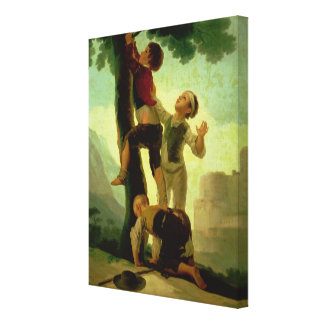 Boys Climbing a Tree, cartoon for a tapestry Stretched Canvas Print