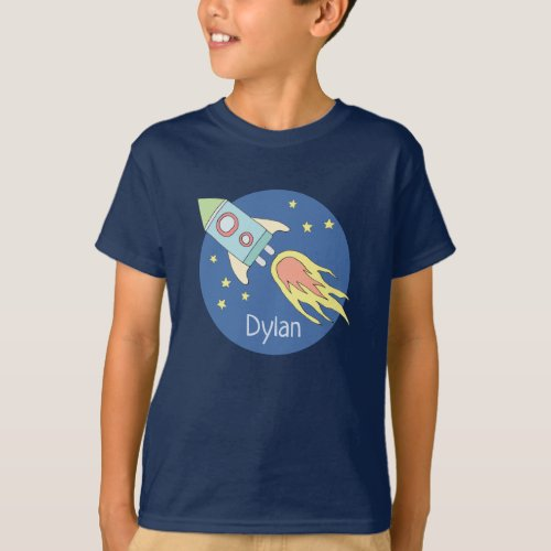 Boys Colorful Rocket Ship Space Galaxy and Name T_Shirt