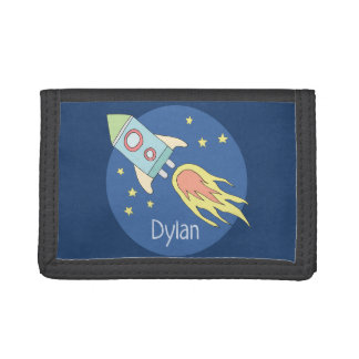 Boys Colorful Rocket Ship Space Pattern and Name Trifold Wallet