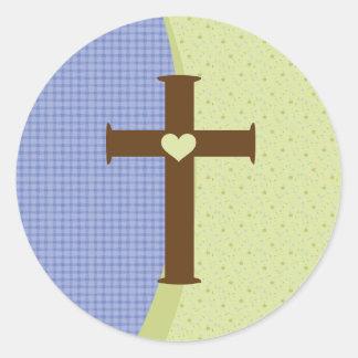 Boys Communion Cross Classic Round Sticker