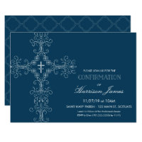 Boy's Confirmation Invitation with Cross, Monogram
