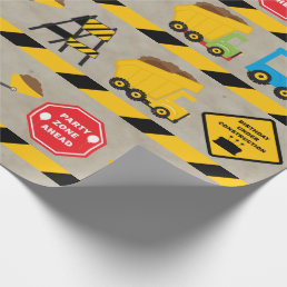 Boys Construction Birthday Wrapping Paper