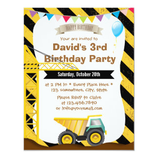 Boys Construction Theme Birthday Party Invitations