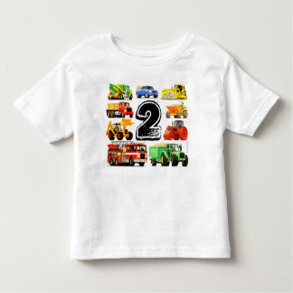 Boy's Construction Truck 2nd Birthday Tee Shirt