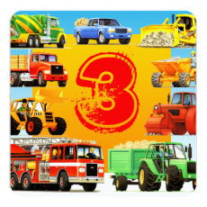 Boy's Construction Truck Themed 3rd Birthday Party Card