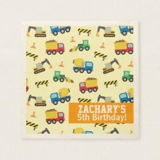 Boys Construction Vehicles Pattern Birthday Party Paper Napkin