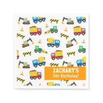 Boys Construction Vehicles Pattern Birthday Party Paper Napkin
