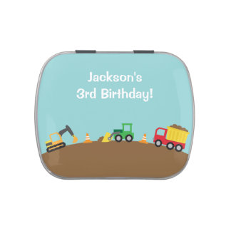 Boys Construction Vehicles Theme Birthday Party Jelly Belly Candy Tin
