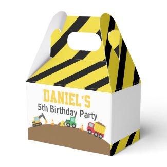 Boys Construction Vehicles Theme Birthday Party Favor Box