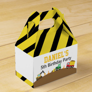Boys Construction Vehicles Theme Birthday Party Favor Box