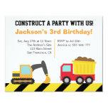 Boys Construction Vehicles Theme Birthday Party Custom Invitations
