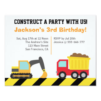 Boys Construction Vehicles Theme Birthday Party 4.25x5.5 Paper Invitation Card