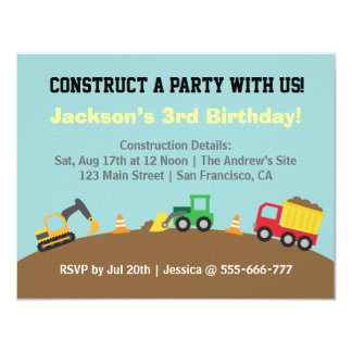 Boys Construction Vehicles Theme Birthday Party 4.25x5.5 Paper Invitation Card