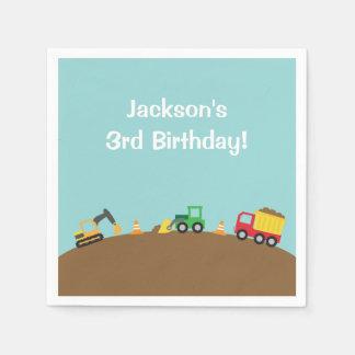 Boys Construction Vehicles Theme Birthday Party Standard Cocktail Napkin