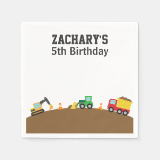 Boys Construction Vehicles Theme Birthday Party Standard Cocktail Napkin