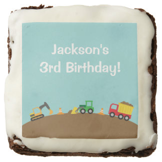 Boys Construction Vehicles Theme Birthday Party Square Brownie