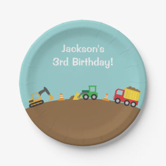 Boys Construction Vehicles Theme Birthday Party 7 Inch Paper Plate