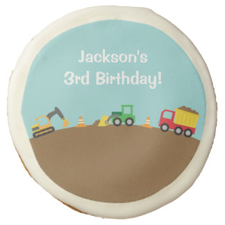 Boys Construction Vehicles Theme Birthday Party Sugar Cookie
