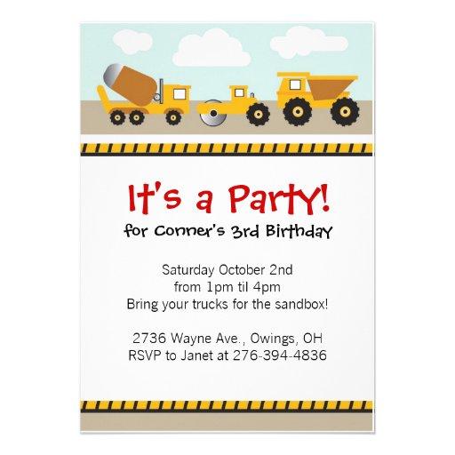 Boys contruction trucks invitation