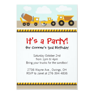 Boys contruction trucks invitation