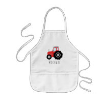 Boy's Cool Doodle Red Farm Tractor with Name Kids' Apron