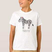 Boy's Cool Watercolor Zebra Safari with Name T-Shirt