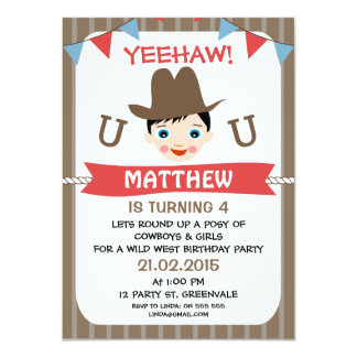 Boys Cowboy Bunting Birthday Party Invitation