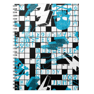 Boy's crossword puzzle notebook
