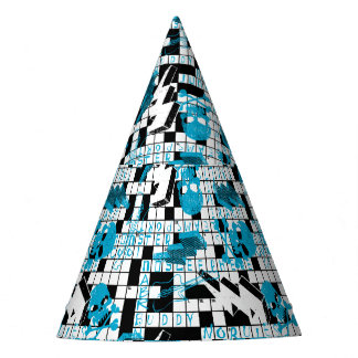 Boy's crossword puzzle party hat