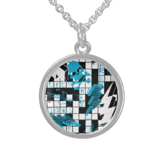 Boy's crossword puzzle sterling silver necklace