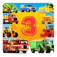 Boy's Custom 3rd Birthday Construction Truck Party Card