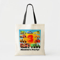 Boy's Custom 3rd Birthday Construction Truck Party Tote Bag